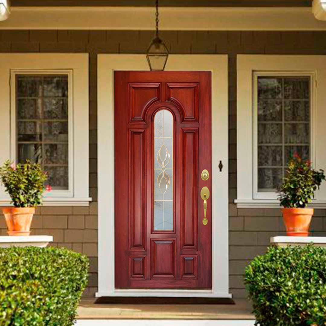 Puerta Modelo Majestic con Vitral Cedro color Natural