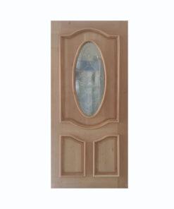 Puerta Oval con Vitral Cedro color Natural