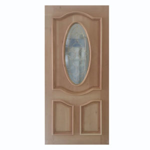 Puerta Oval con Vitral Cedro color Natural